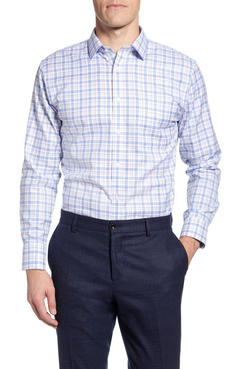 NORDSTROM MEN'S SHOP Smartcare Trim Fit Plaid Dress Shirt, Main, color, 260