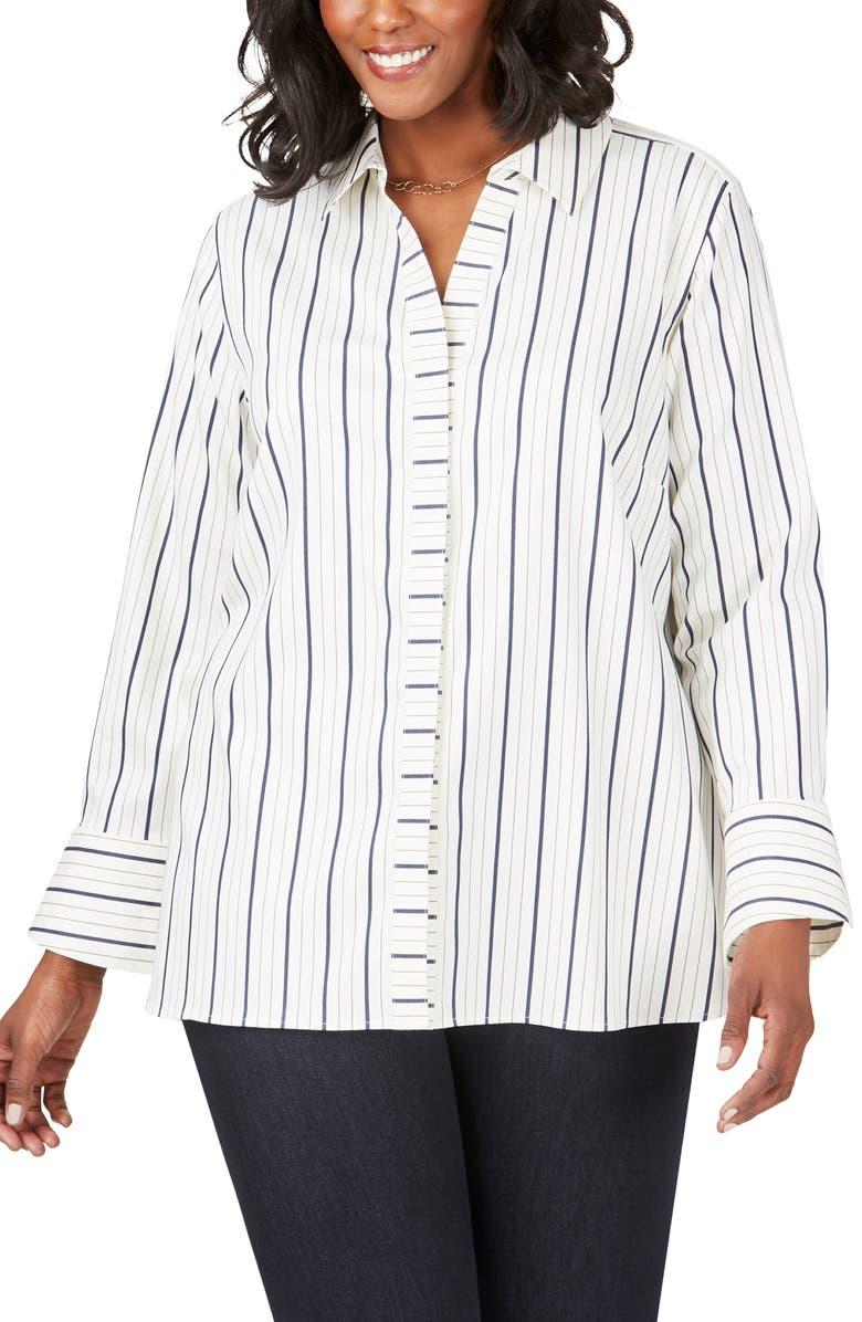 FOXCROFT Kyla Stripe Stretch Sateen Shirt, Main, color, BIRCH