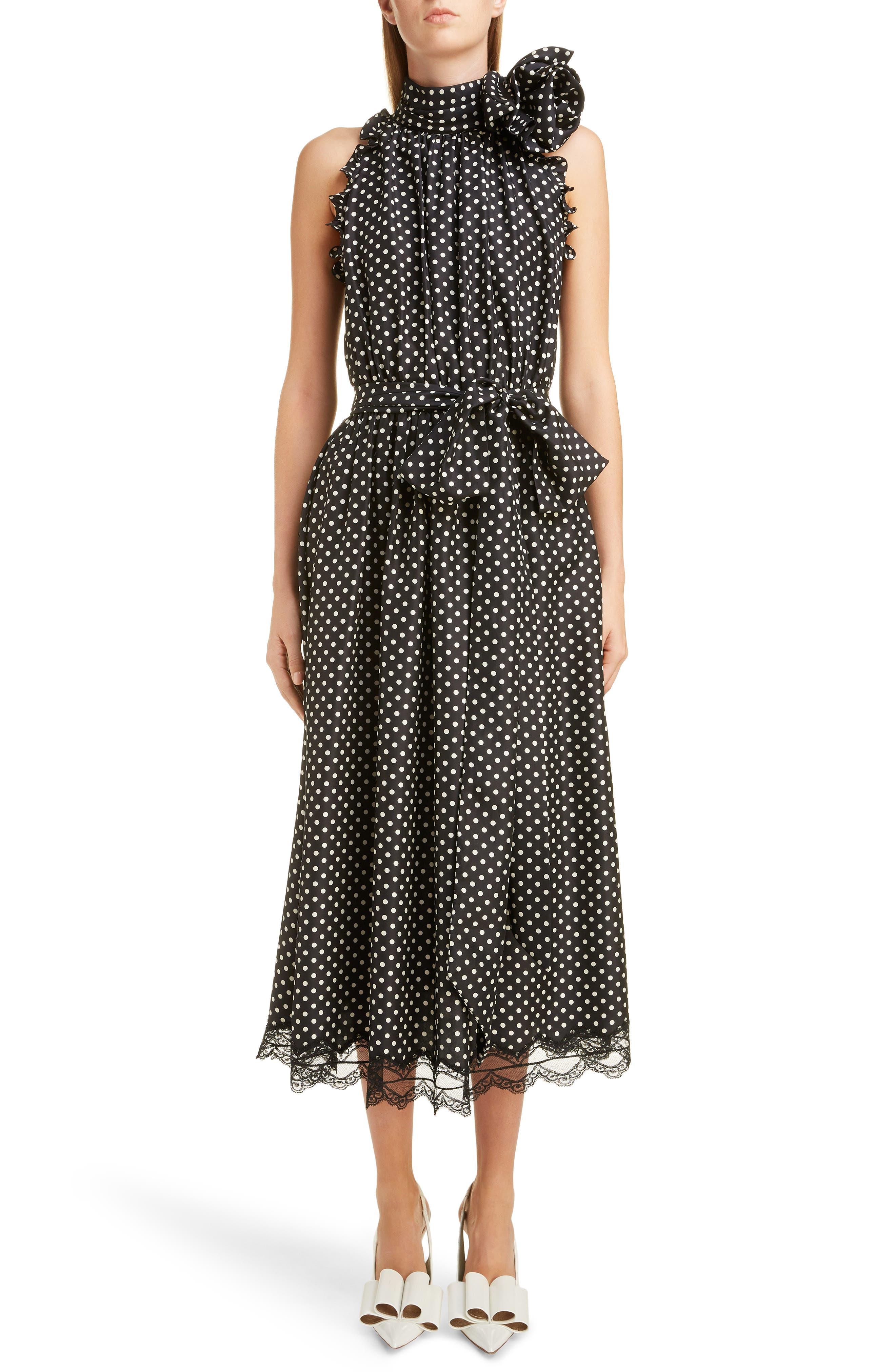 Marc Jacobs Dresses Belted Polka Dot Charmeuse Midi Dress
