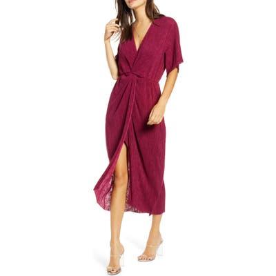 All In Favor Dolman Plisse Midi Dress, Purple