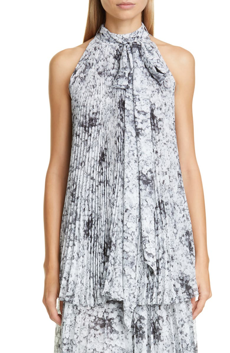 ADAM LIPPES Pleated Floral Print Chiffon Halter Top, Main, color, BABYS BREATH