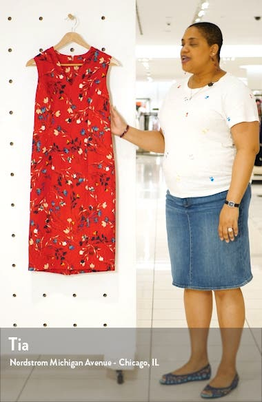 Meredith Floral Print Sheath Dress, sales video thumbnail