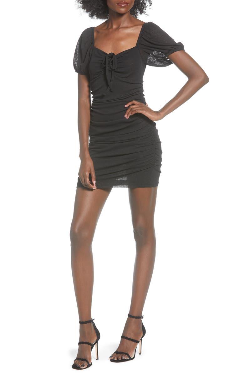 TOPSHOP Ruched Minidress, Main, color, 001