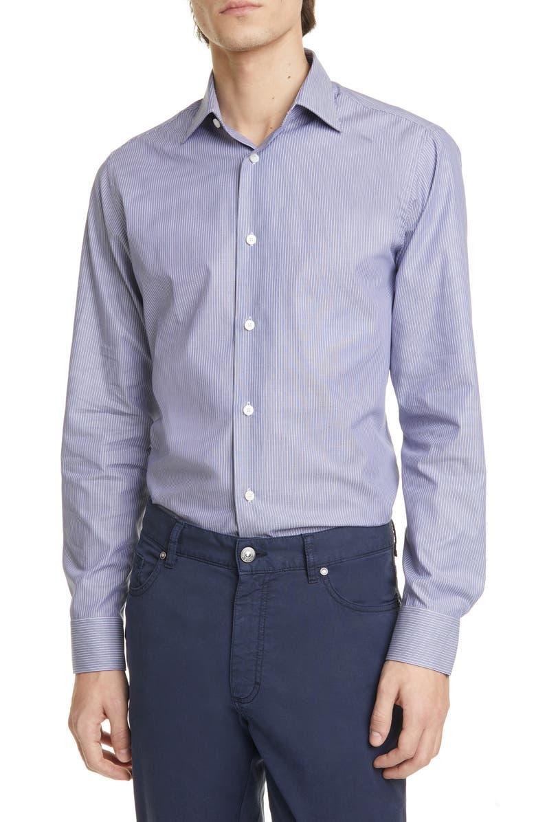 Z ZEGNA Extra Slim Fit Stripe Stretch Button-Up Shirt, Main, color, BLUE