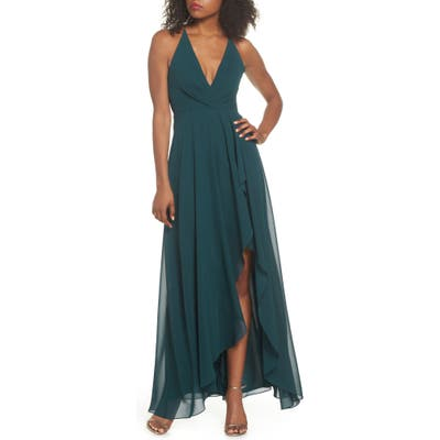 Jenny Yoo Farrah Ruffle Chiffon Gown, Green