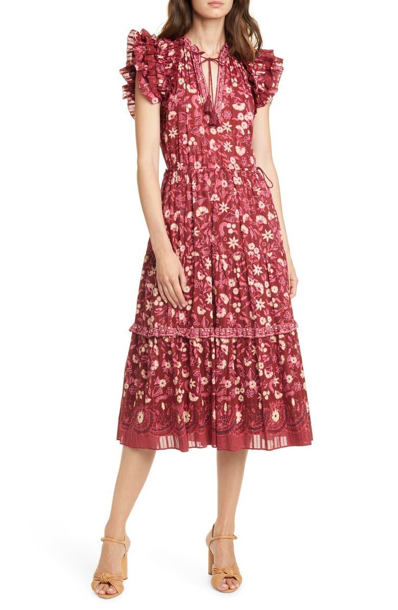 ULLA JOHNSON Linnea Floral Midi Dress, Main, color, BURGUNDY