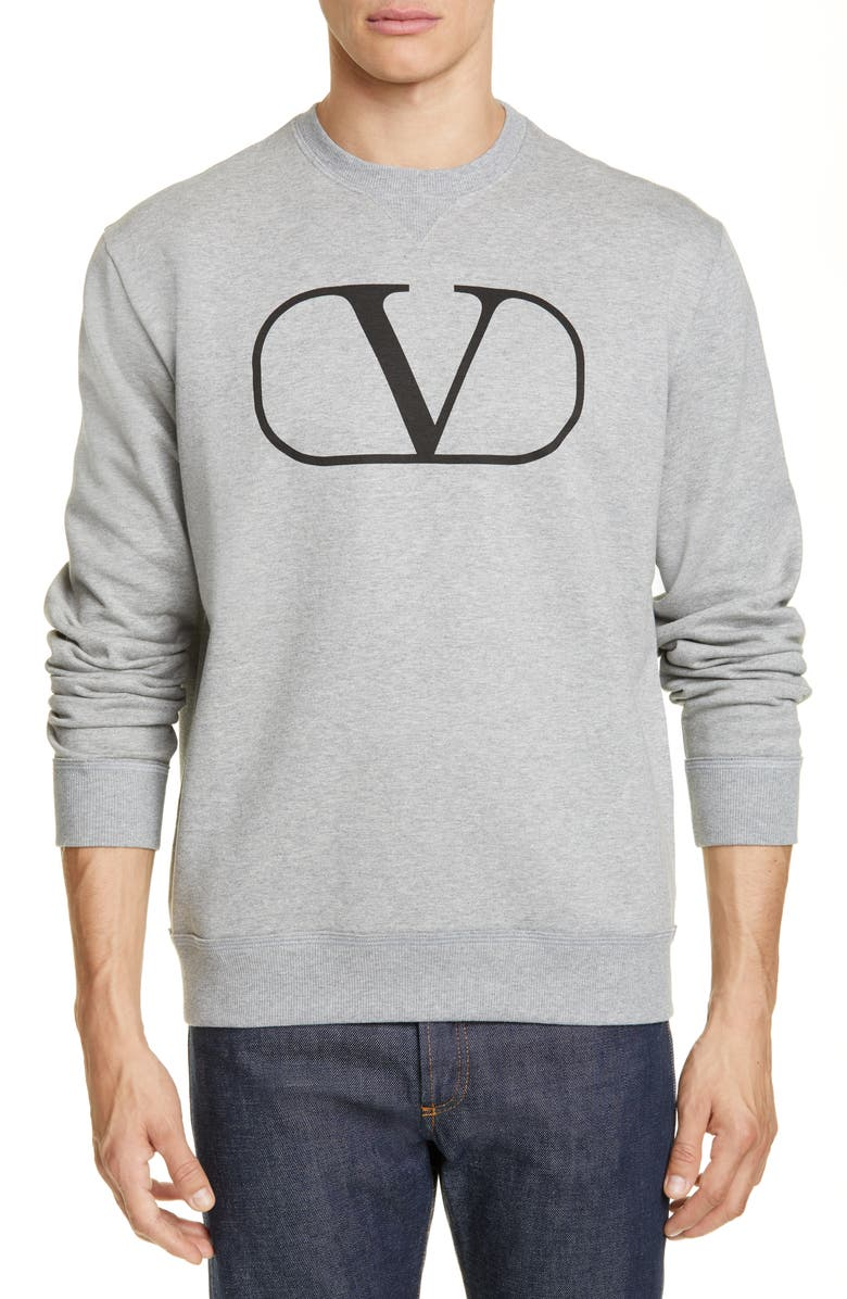 VALENTINO V-Logo Sweatshirt, Main, color, GREY