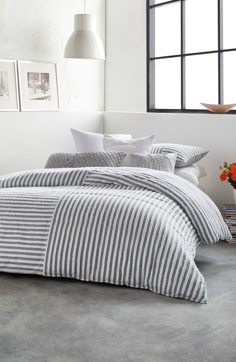 DKNY Clipped Square Cotton Comforter & Sham Set, Main, color, GREY