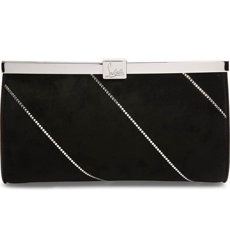 CHRISTIAN LOUBOUTIN Small Palmette Embellished Clutch, Main, color, BLACK/ CRYSTAL