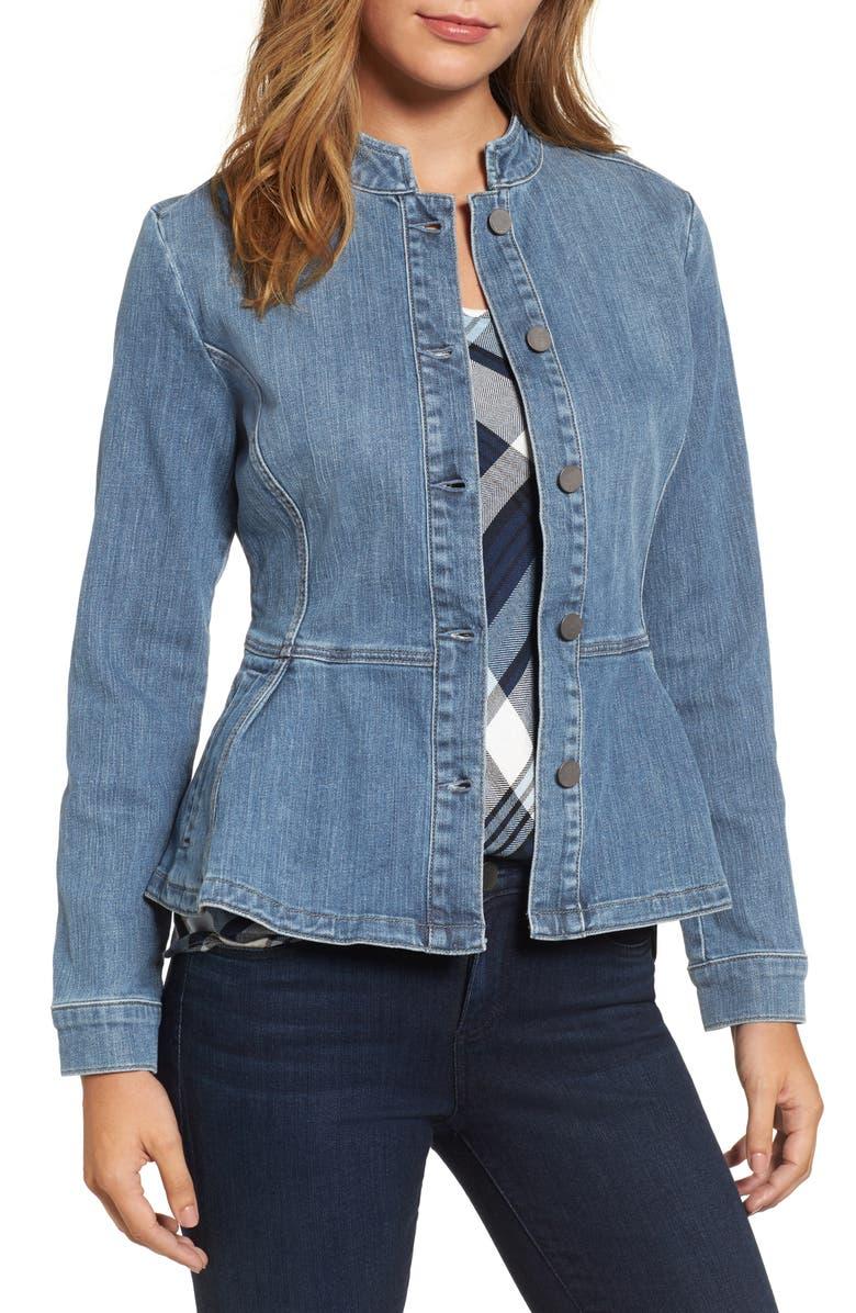 great look exceptional range of styles release date Peplum Denim Jacket
