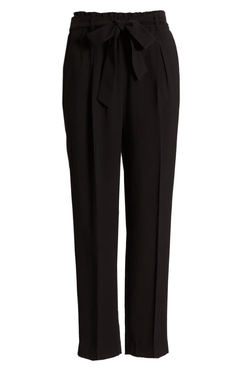 CHELSEA28 Straight Leg Tie Waist Pants, Main, color, BLACK