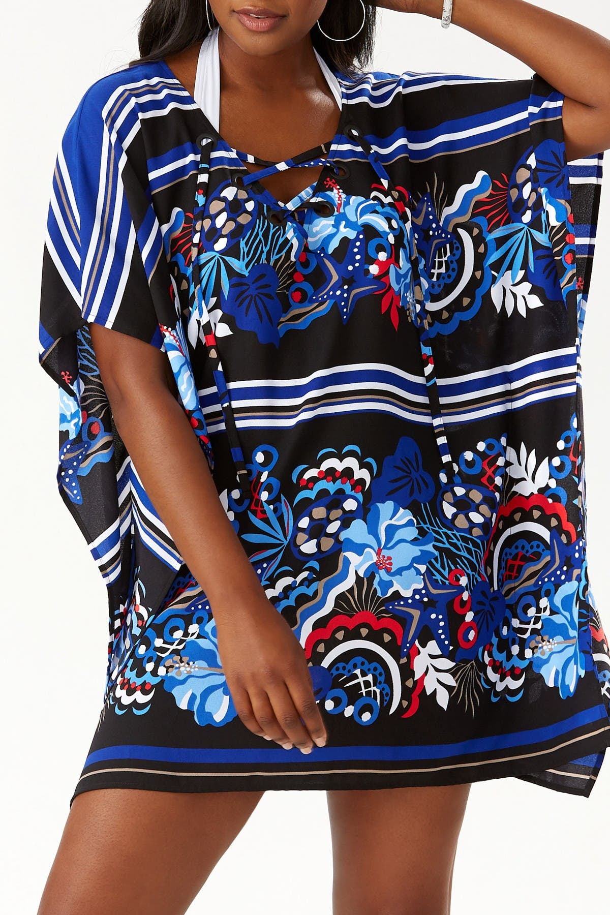 Image of Tommy Bahama Salvation Sea Lace-Up Tunic