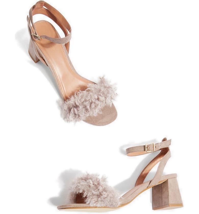 c5d62a46e3 Topshop Doodle Faux Fur Block Heel Sandal (Women) | Nordstrom