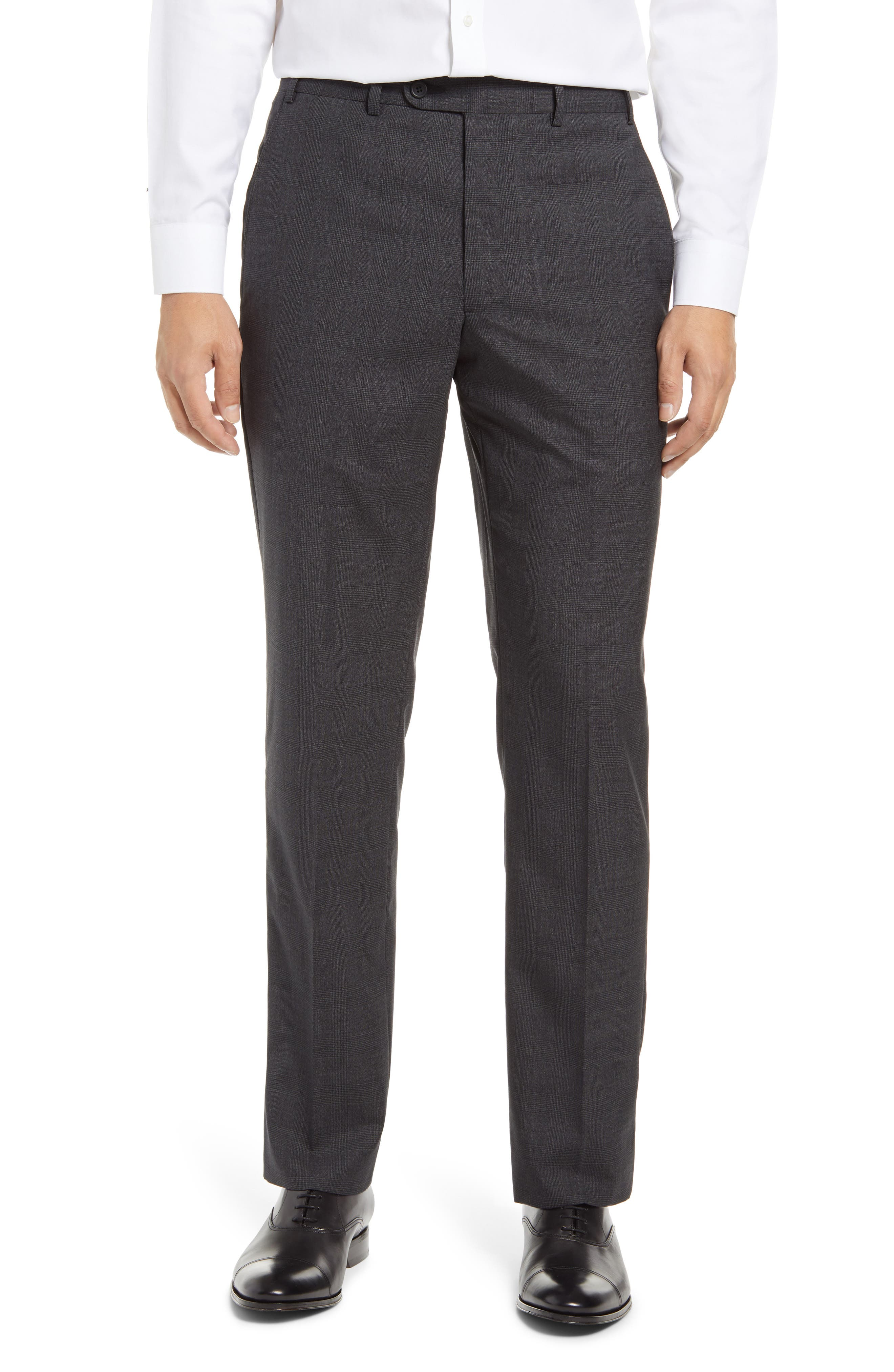Image of John W. Nordstrom Torino Flat Front Glen Plaid Wool Pants