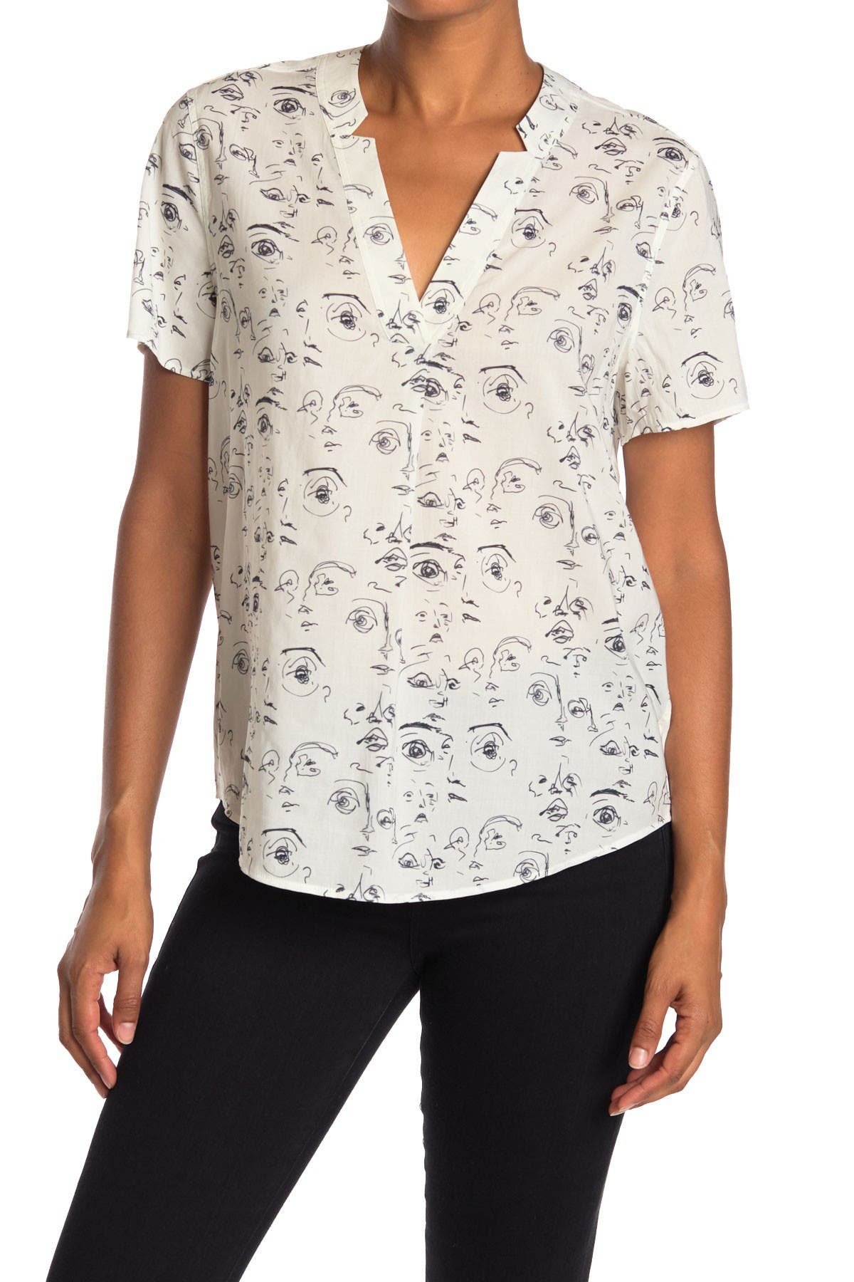 Image of Billy Reid Camilla Face Printed Blouse