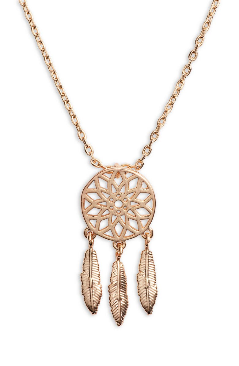 TEN79LA Dreamcatcher Charm Necklace, Main, color, GOLD