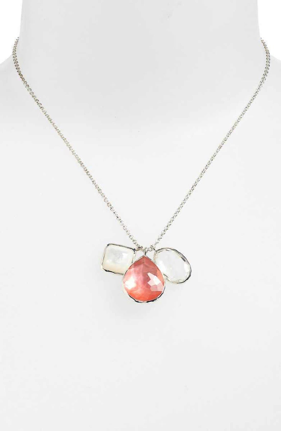 Image of Ippolita Sterling Silver Wonderland 3-Stone Charm Necklace in Pizzelle