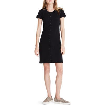 Madewell Ribbed Button Front Minidress, Black