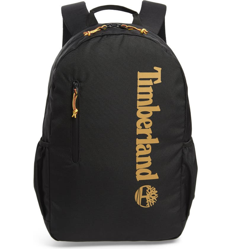 TIMBERLAND Linear Logo Water Resistant Backpack, Main, color, BLACK W/ WHEAT LOGO
