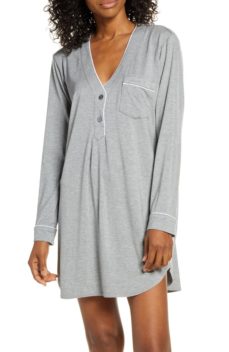 UGG<SUP>®</SUP> Henning Henley Sleep Shirt, Main, color, GREY HEATHER
