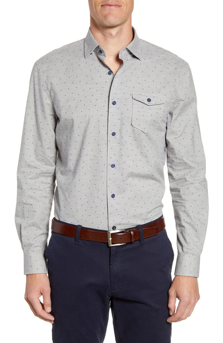 JOHNNIE-O Hawthorne Classic Fit Button-Up Sport Shirt, Main, color, LIGHT GREY