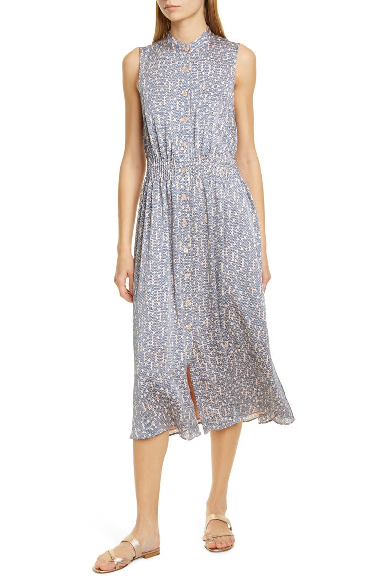 EQUIPMENT Andrinna Print Button Front Midi Dress, Main, color, ROSE CLOUD TRUE BLUE