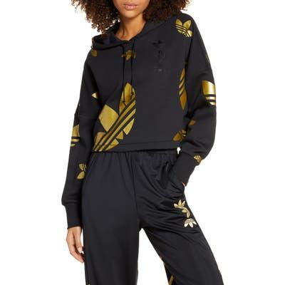 Adidas Originals Large Logo Crop Hoodie, Black