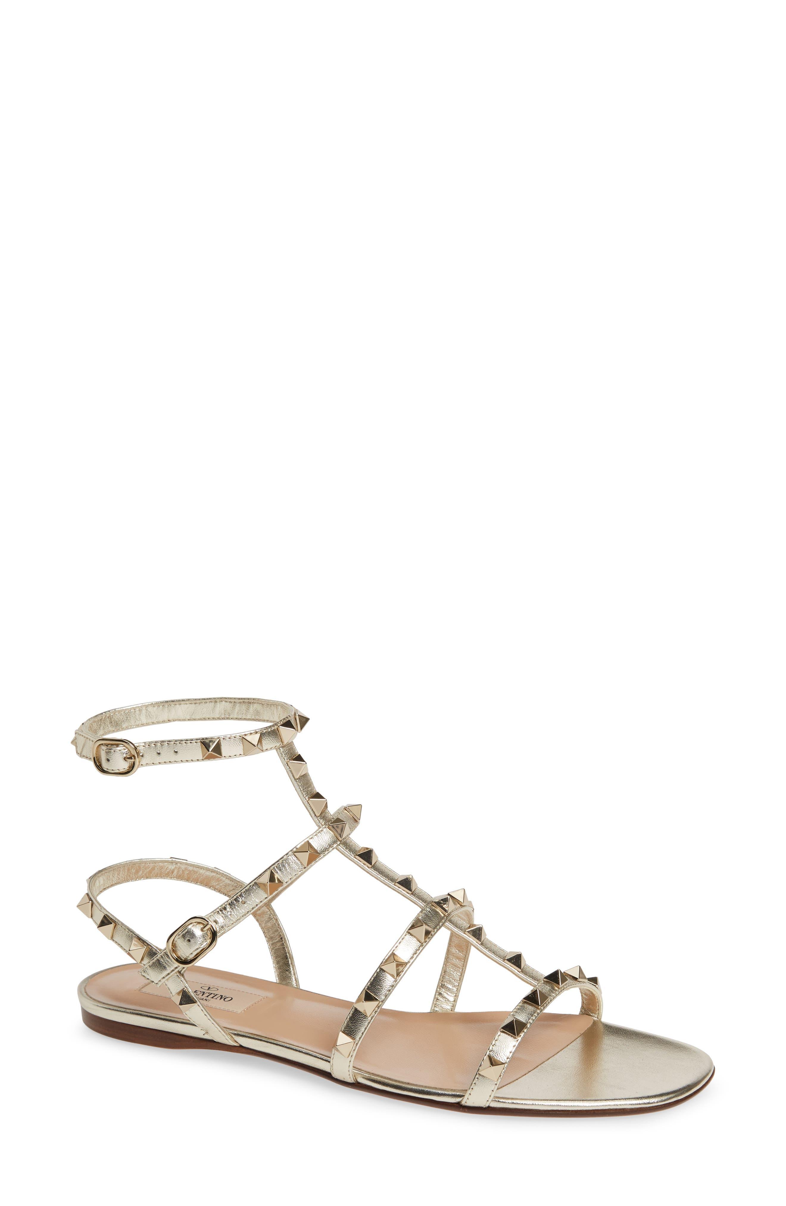 Rockstud Metallic Gladiator Sandal, Main, color, PLATINO