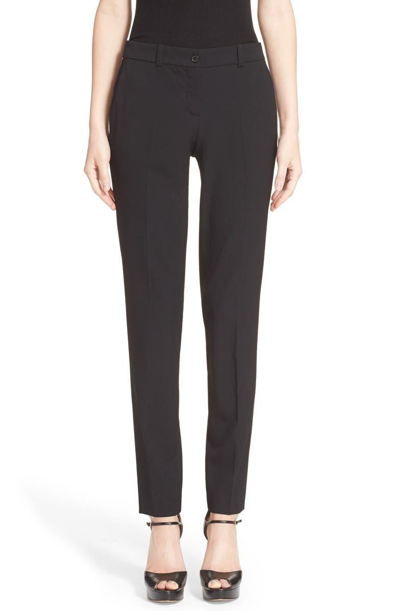 MICHAEL KORS Samantha Stretch Wool Straight Leg Pants, Main, color, BLACK