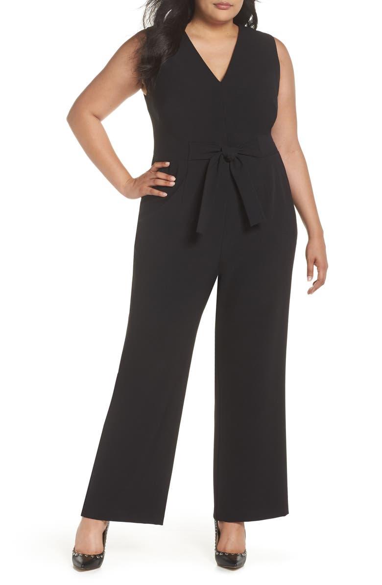 VINCE CAMUTO Crepe Tie Front Wide Leg Jumpsuit, Main, color, BLACK