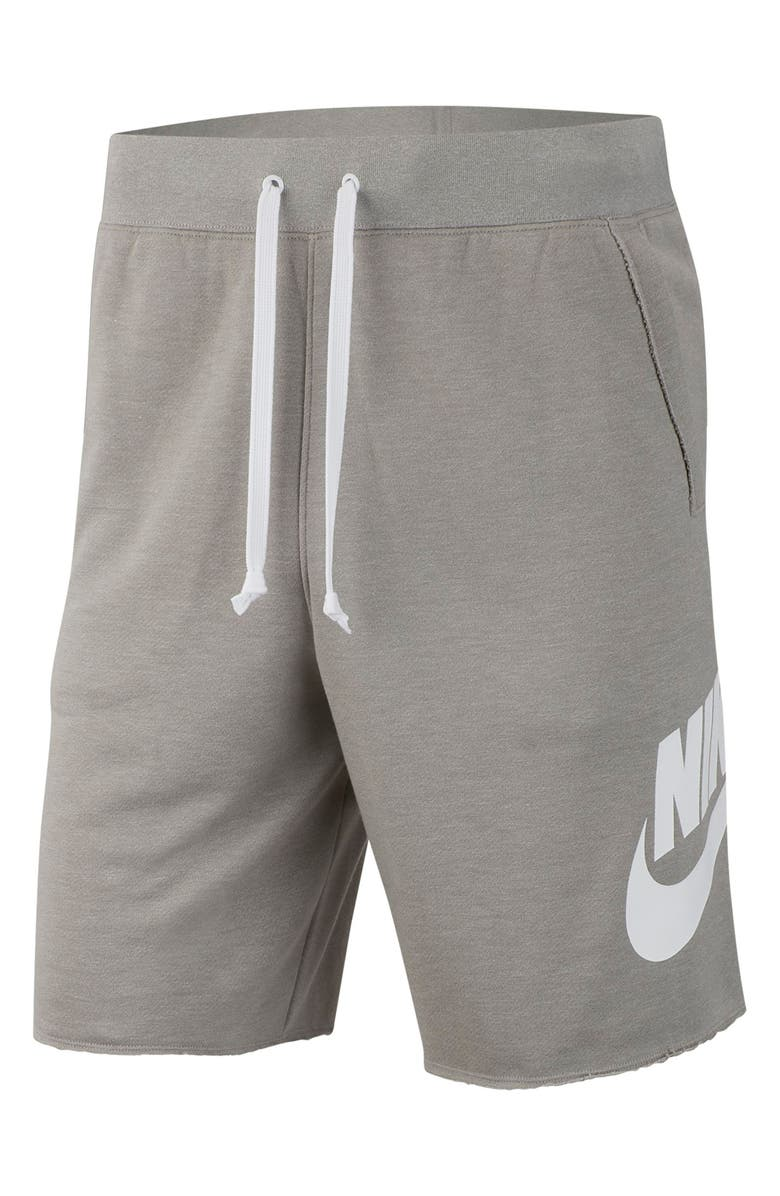 NIKE Sportswear Alumni Shorts, Main, color, DARK GREY HEATHER/ WHITE