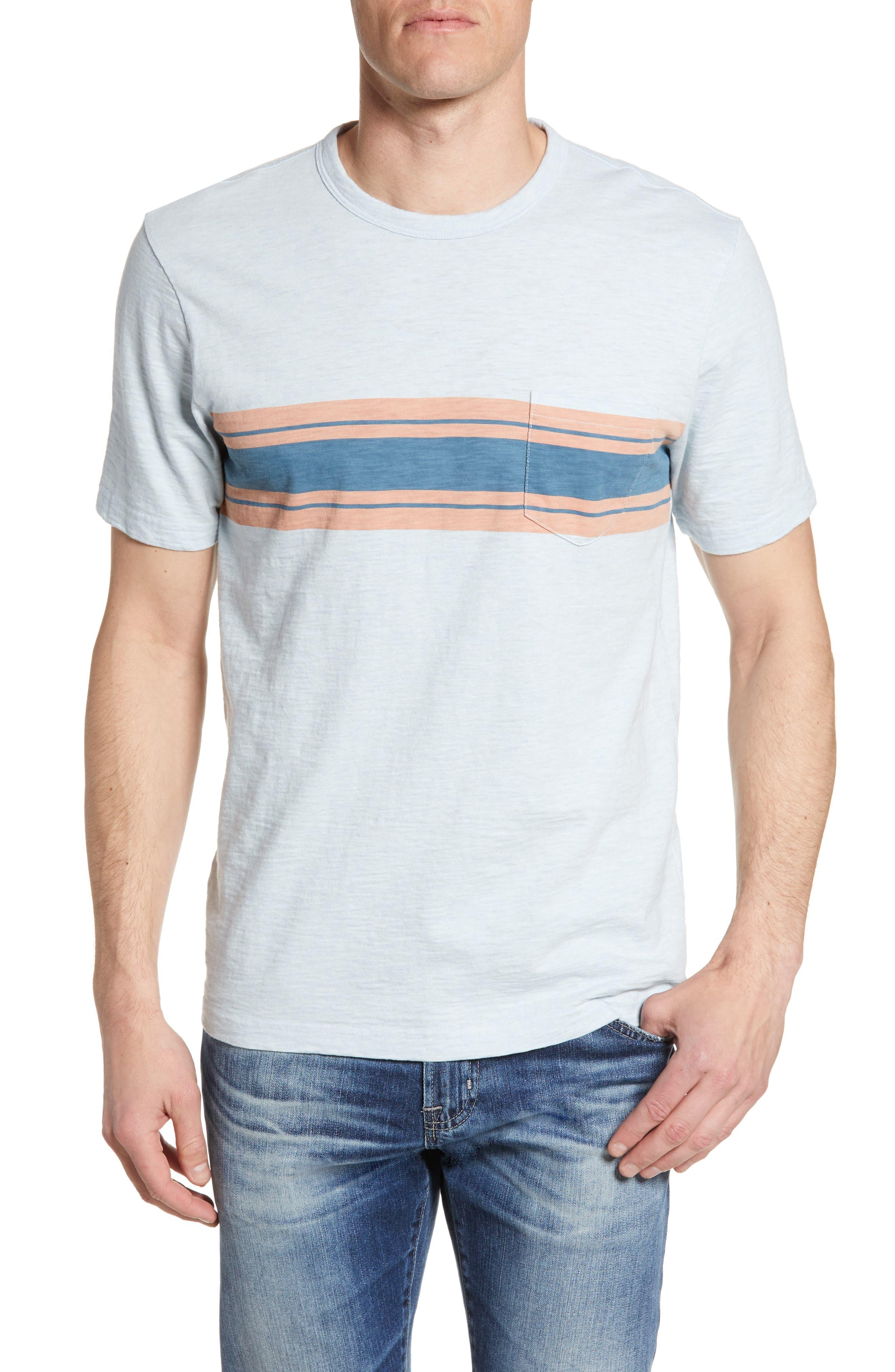 Faherty Surf Stripe Pocket T-Shirt, Blue