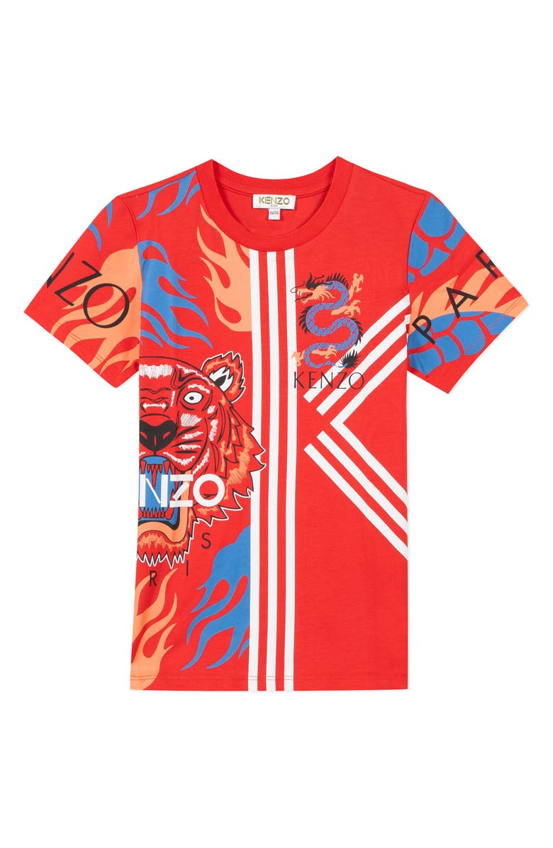 KENZO Multi Iconic Graphic T-Shirt, Main, color, RED