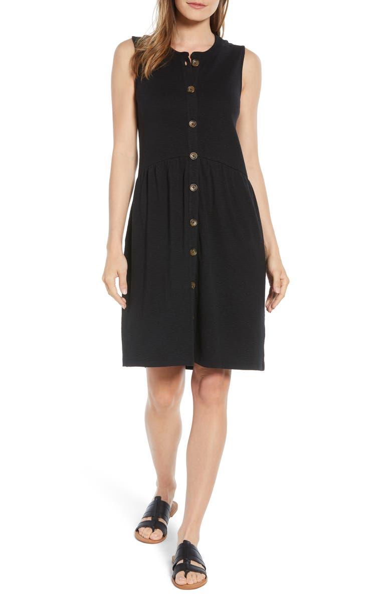 CASLON<SUP>®</SUP> Button Drop-Waist Knit Dress, Main, color, 001