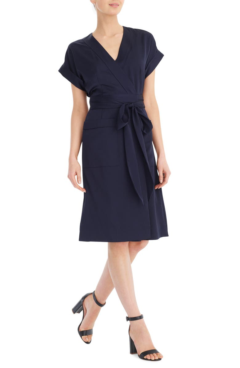 J.CREW Short Sleeve Wrap Dress, Main, color, NAVY