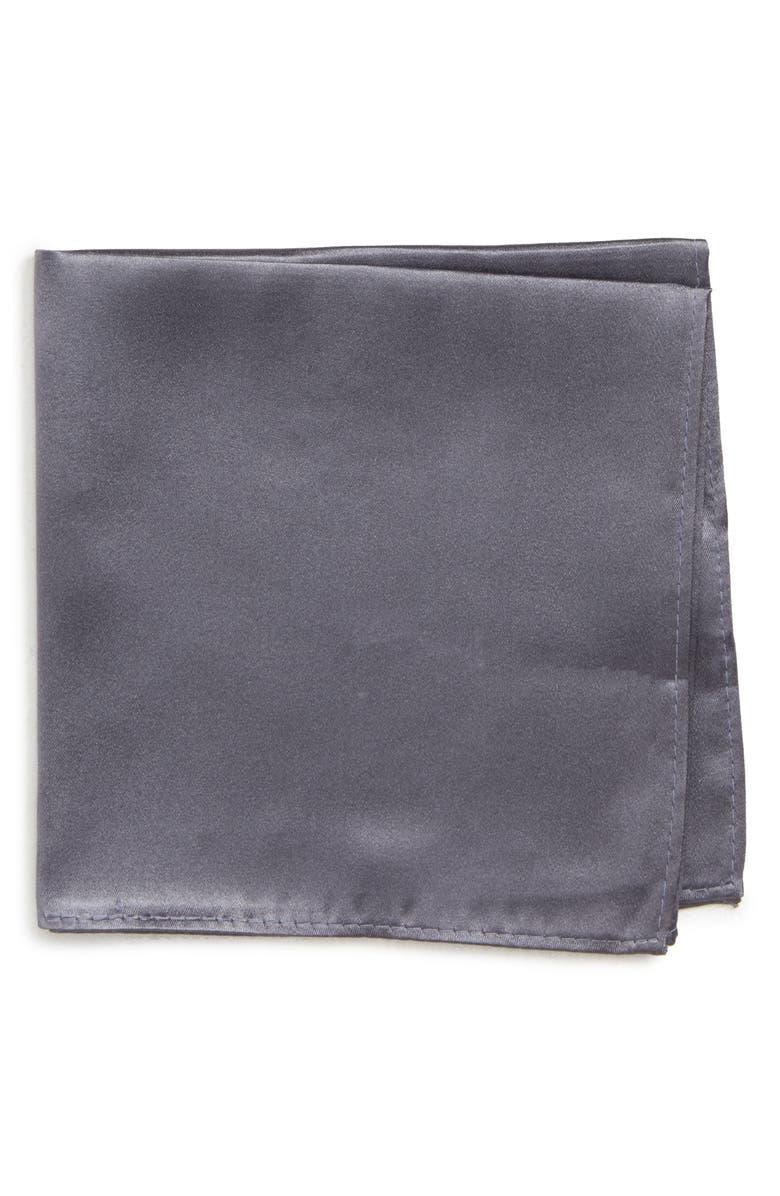 NORDSTROM MEN'S SHOP Solid Silk Pocket Square, Main, color, GREY