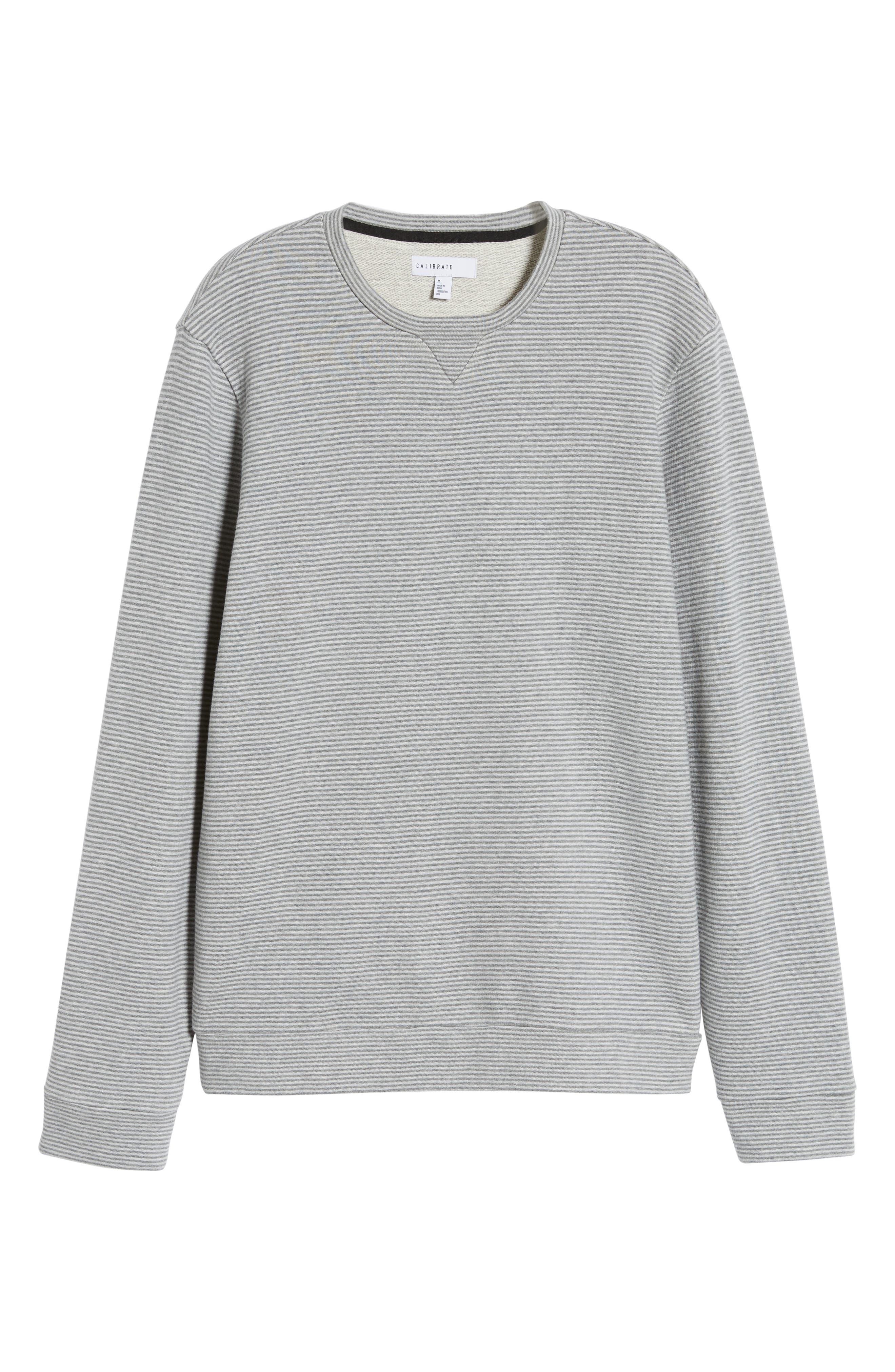 ,                             Stripe Fleece Pullover,                             Alternate thumbnail 6, color,                             CREAM GREY STRIPE