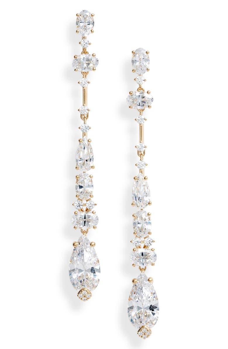 NADRI Everlasting Linear Crystal Earrings, Main, color, GOLD
