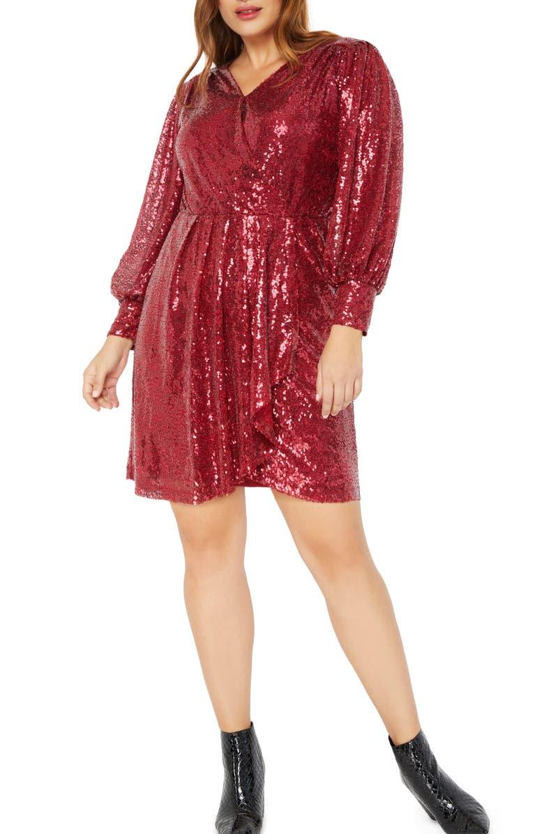 ELOQUII Sequin Long Sleeve Faux Wrap Dress, Main, color, HAUTE RED