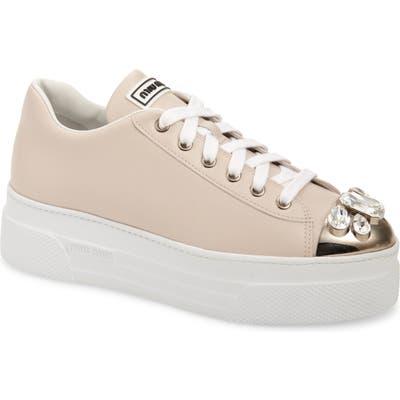 Miu Miu Crystal Cap Toe Sneaker, Pink