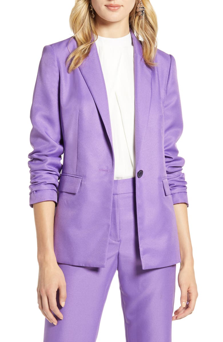 HALOGEN<SUP>®</SUP> Single Breasted Blazer, Main, color, PURPLE DEWBERRY