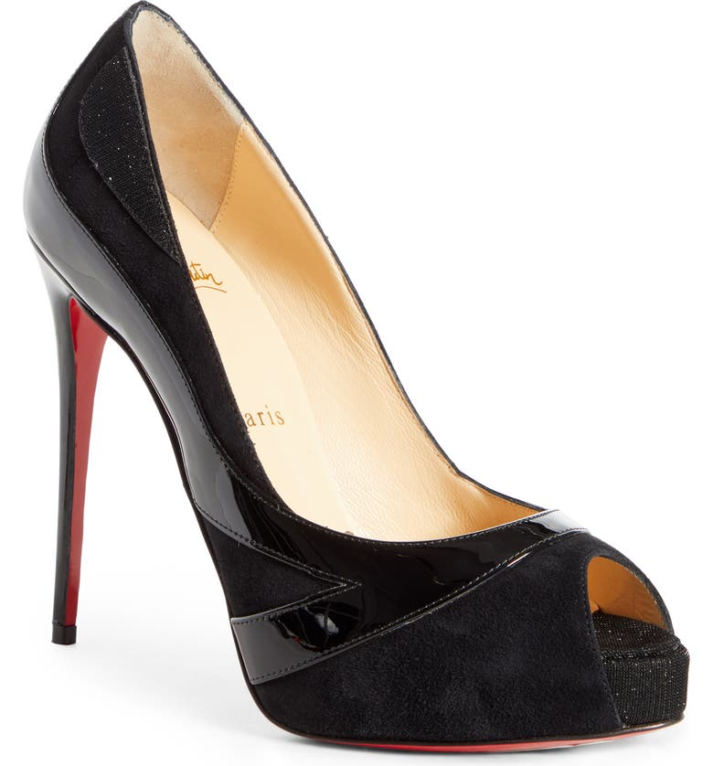 CHRISTIAN LOUBOUTIN Youlapeep Peep Toe Platform Pump, Main, color, BLACK