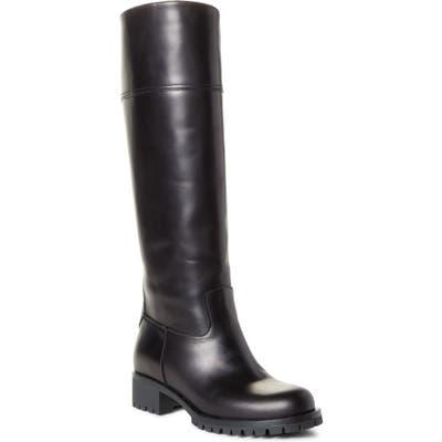 Prada Lug Sole Tall Boot, Black