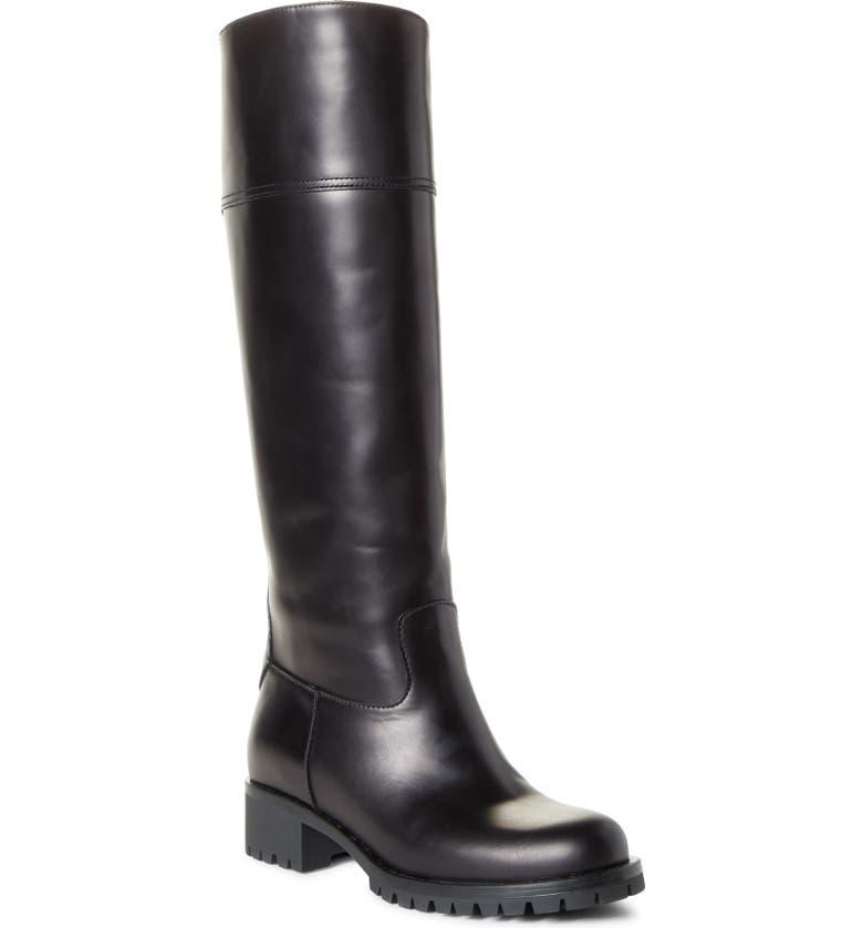 PRADA Lug Sole Tall Boot, Main, color, BLACK