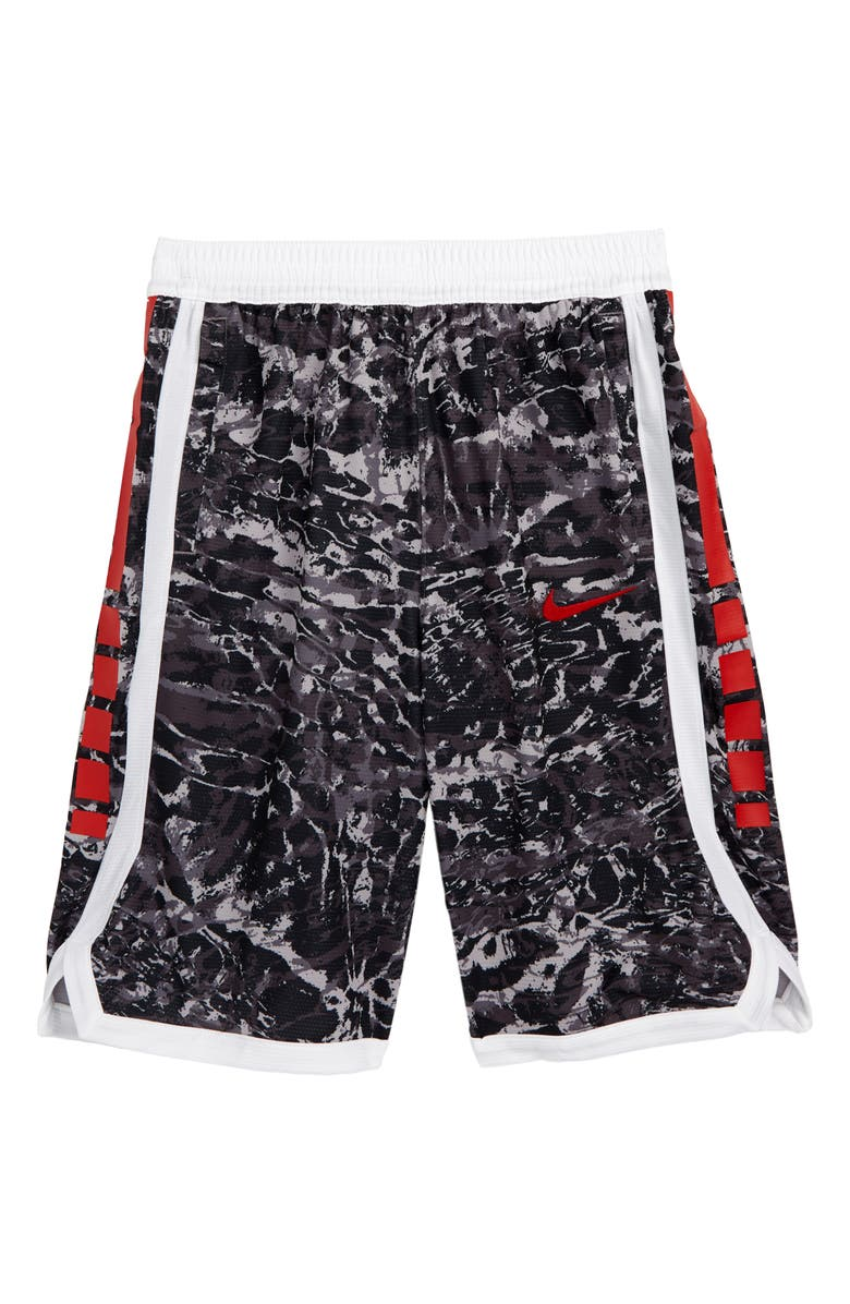 NIKE Dry Elite Basketball Shorts, Main, color, GUNSMOKE/ WHITE/ UNIV RED