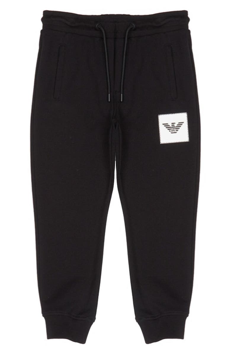 ARMANI JUNIOR Logo Patch Jogger Pants, Main, color, BLACK