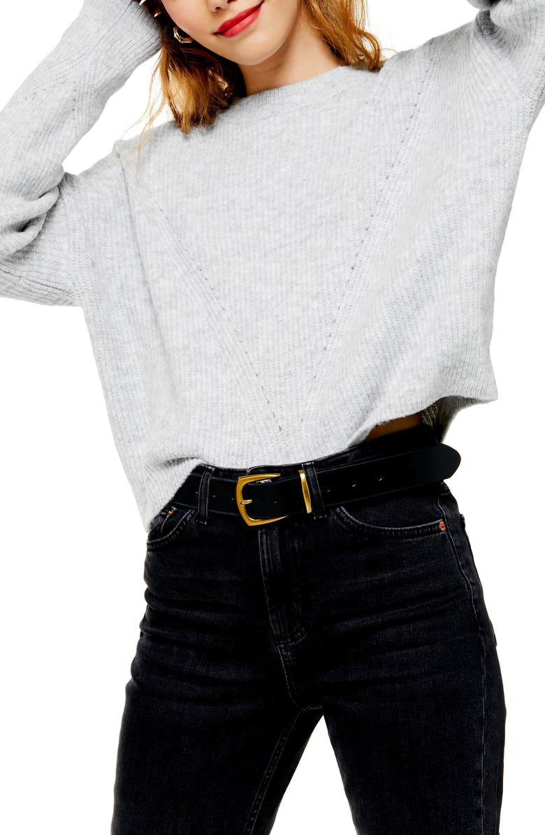 TOPSHOP Crop Sweater, Main, color, GREY MARL