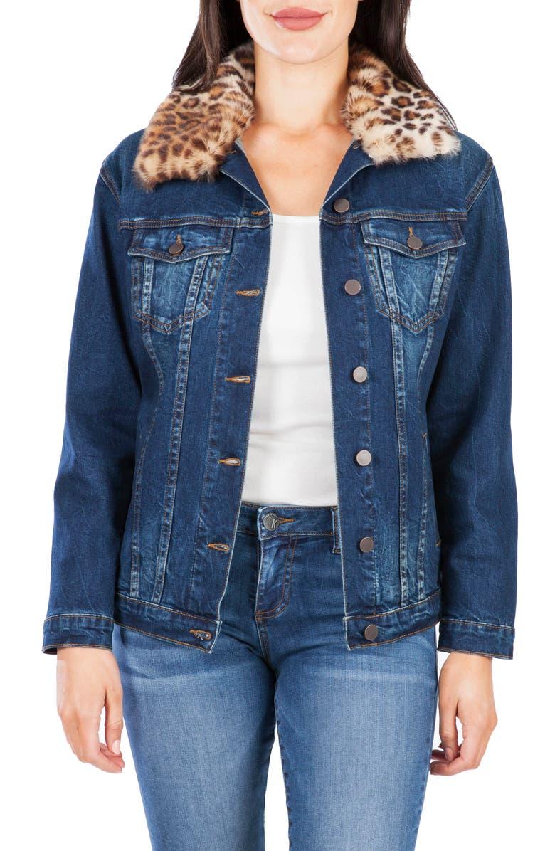 KUT FROM THE KLOTH Emma Faux Fur Collar Denim Jacket, Main, color, TESTAMENT