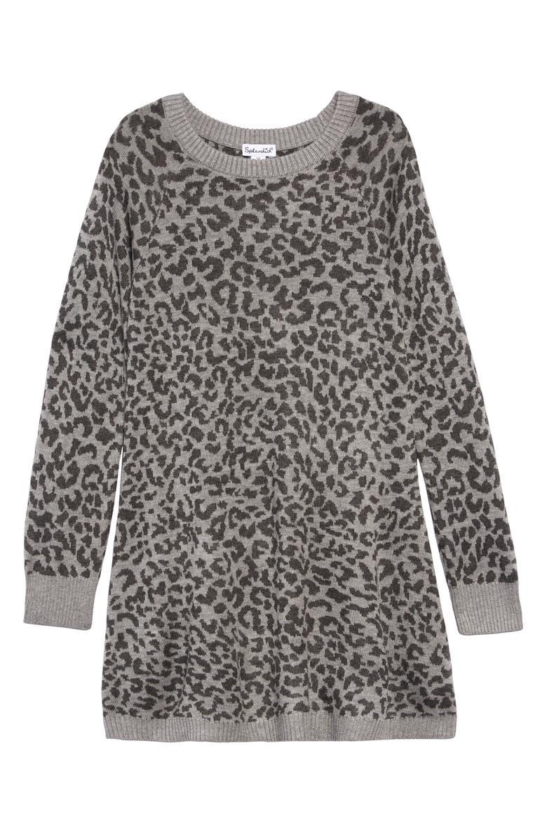 SPLENDID Leopard Print Sweater Dress, Main, color, LIGHT CHARCOAL HEATHER