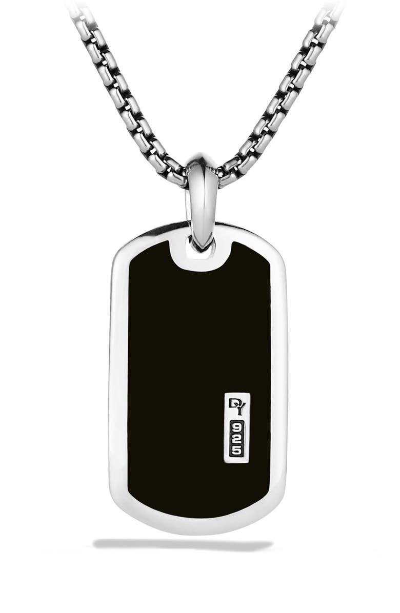 DAVID YURMAN 'Exotic Stone' Tag with Semiprecious Stone, Main, color, BLACK ONYX